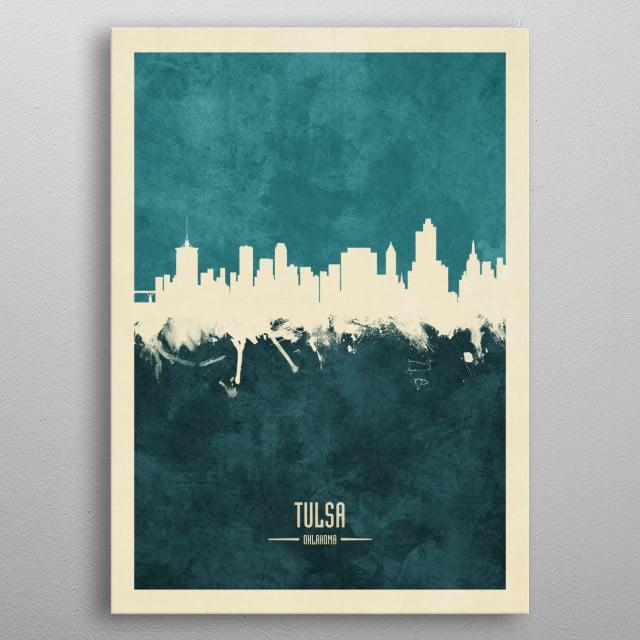 Watercolor art print of the skyline of Tulsa, Oklahoma, United States metal poster