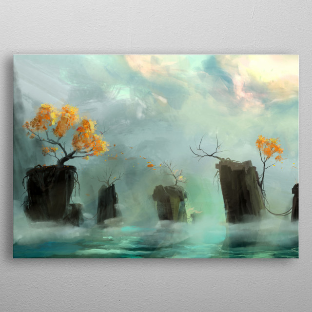 Rocky islands raising out of a misty sea, vaguely inspired by the How To Train Your Dragon series.  metal poster