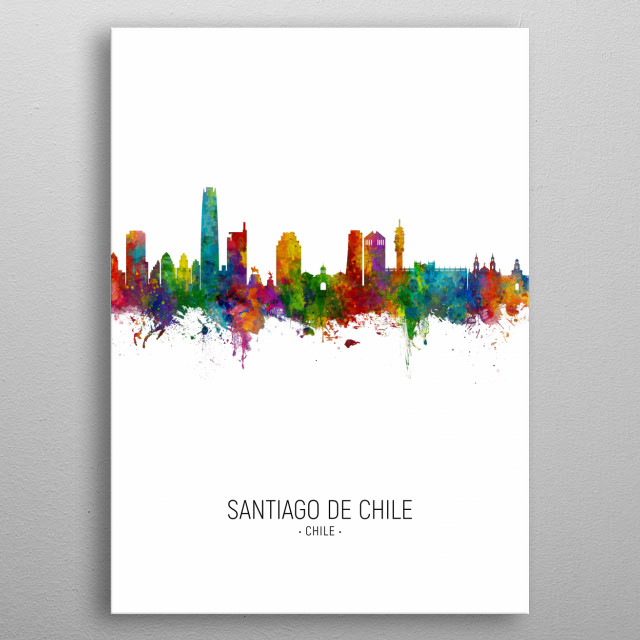 Watercolor art print of the skyline of Santiago de Chile, Chile metal poster