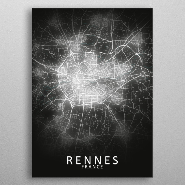 Rennes, France,LED Glow City Map metal poster