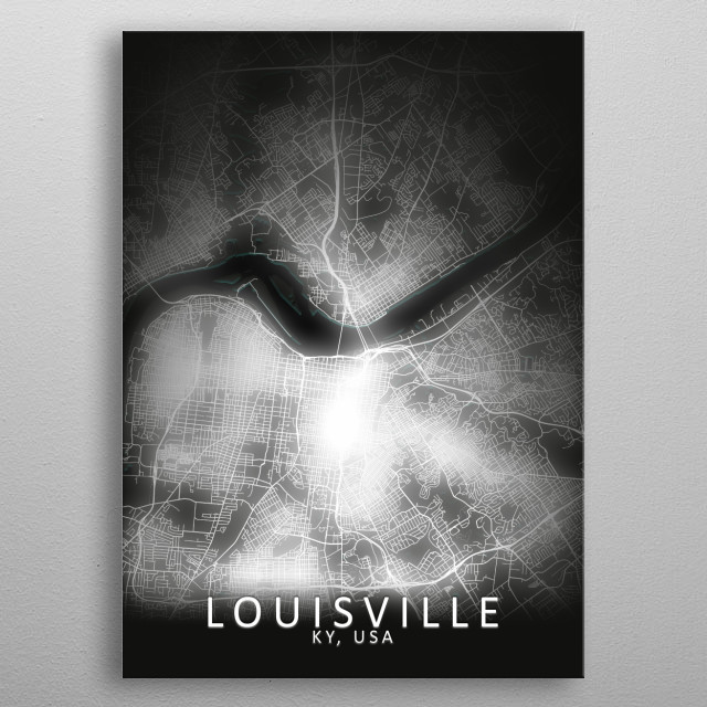 Louisville, KY, USA,LED Glow City Map metal poster