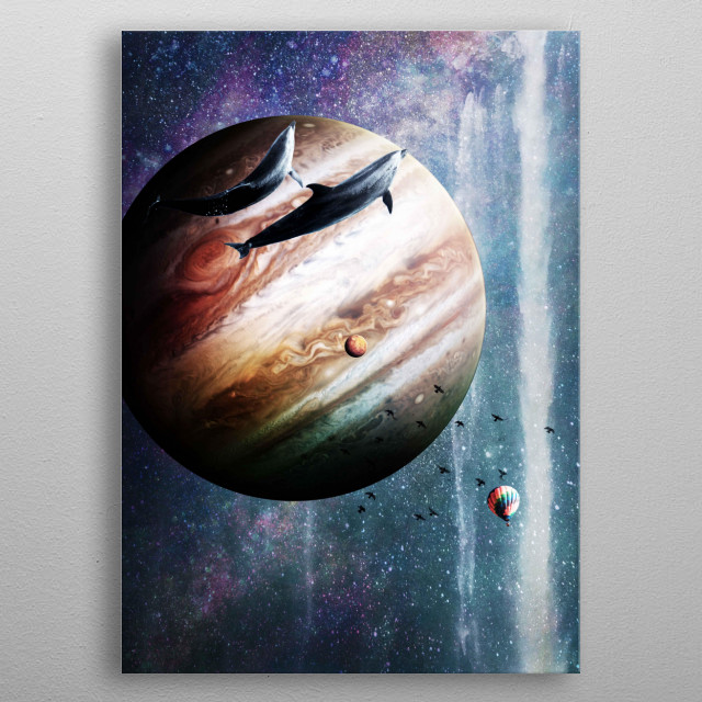 Pick up this awesome space dolphin design featuring planets, waterfall, and a hot air balloon exploring the galaxy.  metal poster