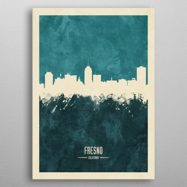 Watercolor art print of the skyline of Fresno, California, United States metal poster