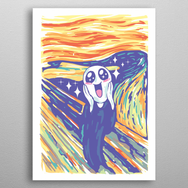 Iconic Scream painting in kawaii form. metal poster