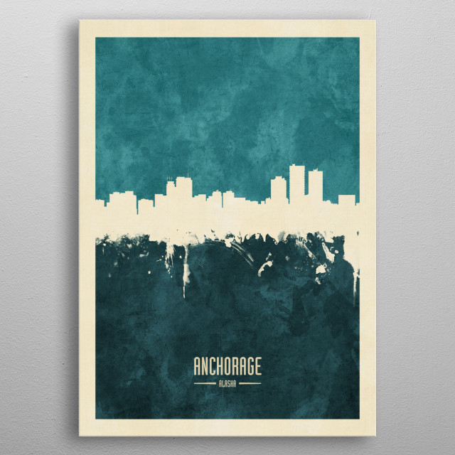 Watercolor art print of the skyline of Anchorage, Alaska, United States metal poster