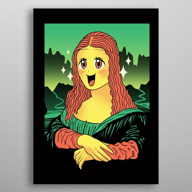 Iconic painting character in kawaii form. metal poster