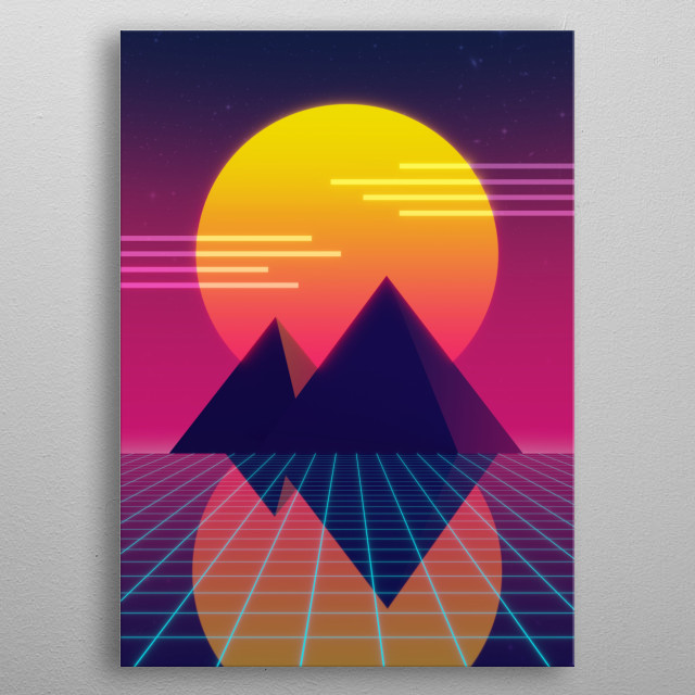 Two pyramids at sunset being reflected as they are, the synthwave jam. metal poster