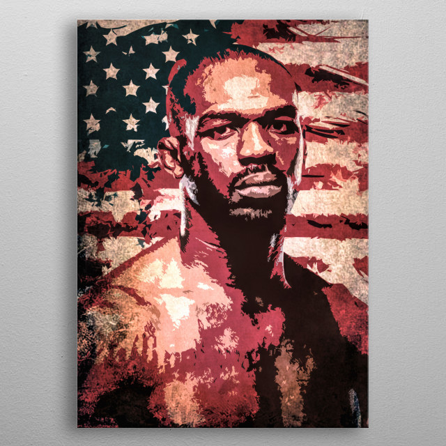 Fighter Jon Jones cartoon portrait with USA flag. metal poster