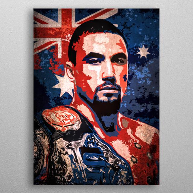 Fighter Robert Whittaker cartoon portrait with flag of Australia. metal poster