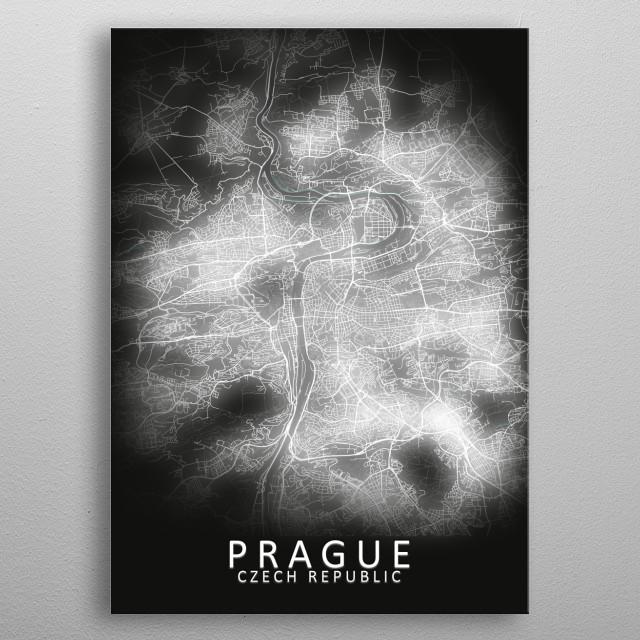 Prague, Czech Republic,LED Glow City Map metal poster