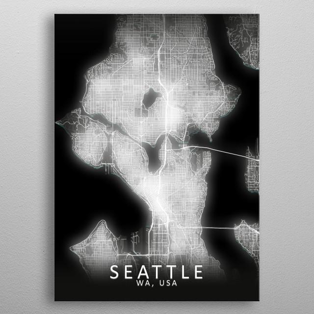 Seattle, WA, USA, LED Glow City Map metal poster