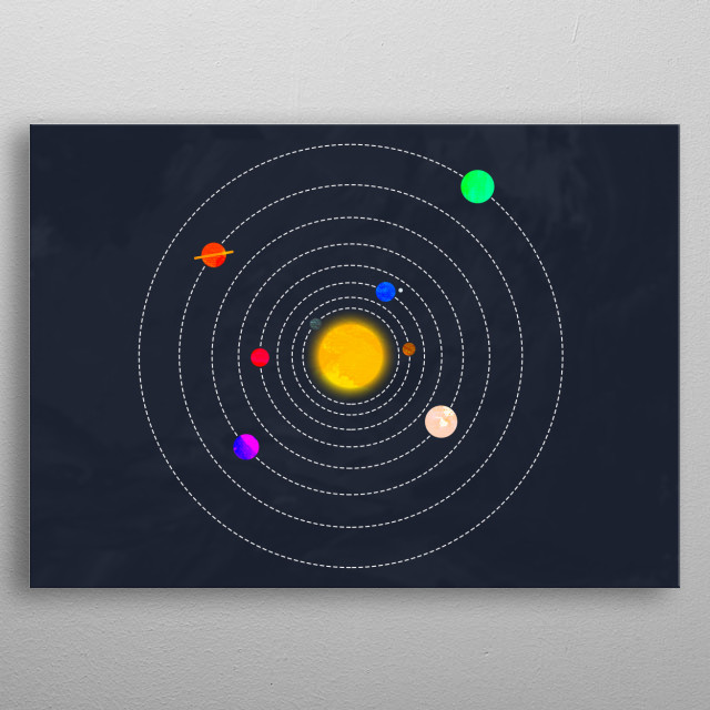 Illustration of our solar system as we know it. Minimal and painting effects where added for the best originality possible. metal poster