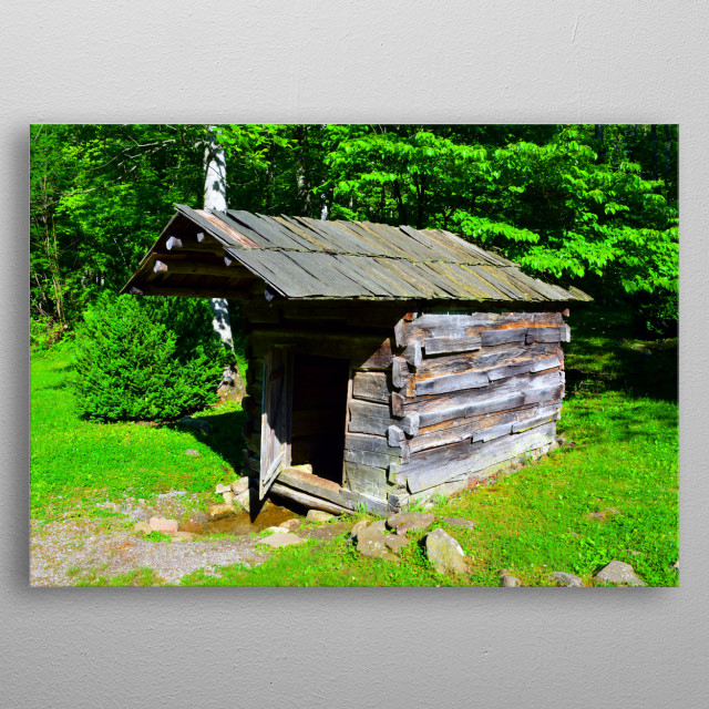 Photography of an old Springhouse (The spring runs under the structure and is used for bathing and other uses) circa 1800s.  metal poster