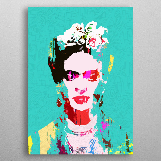 Abstract colourful portrait of Frida Kahlo metal poster