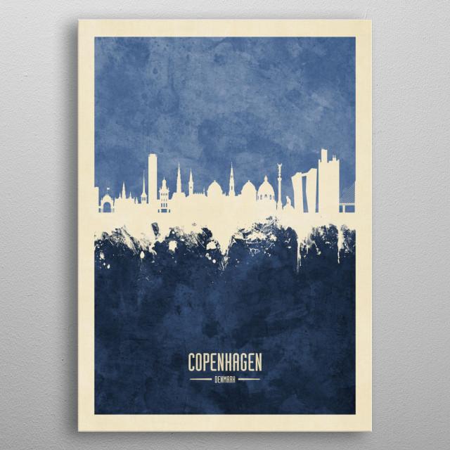 Watercolor art print of the skyline of Copenhagen, Denmark  metal poster