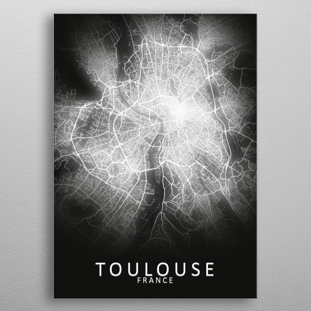 Toulouse, France,LED Glow City Map metal poster