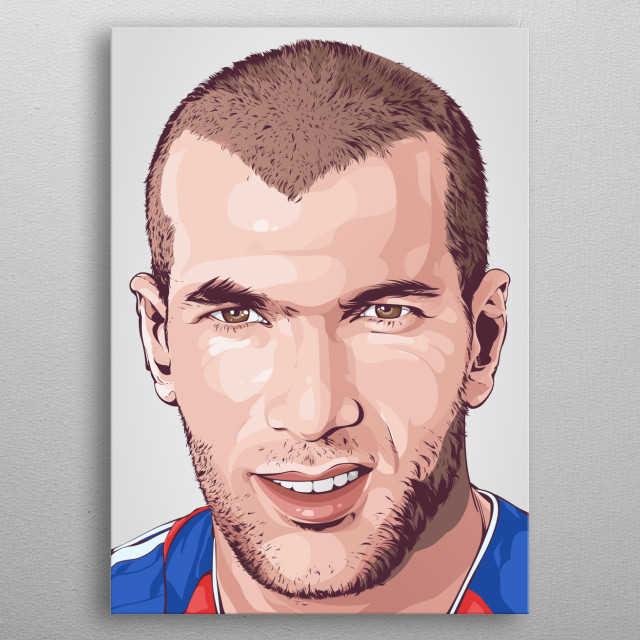 Zinadine Zidane in High Resolution Portrait Poster metal poster