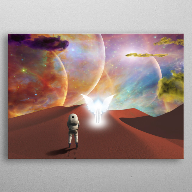 Space journey. Meeting with the angel on red planet metal poster