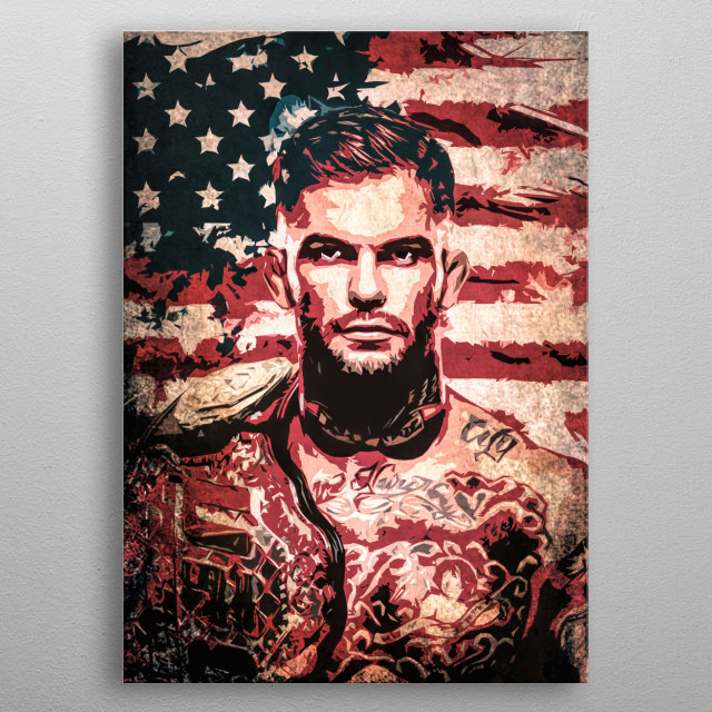 Fighter Cody Garbrandt cartoon portrait with flag of the USA. metal poster