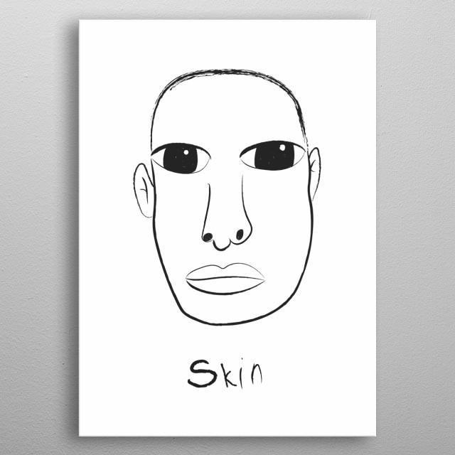 Linear portrait of Skin metal poster