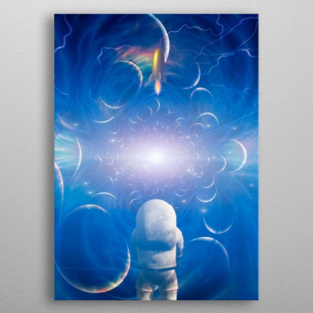 Astronaut before endless space. Bright supernova at the distant horizon metal poster