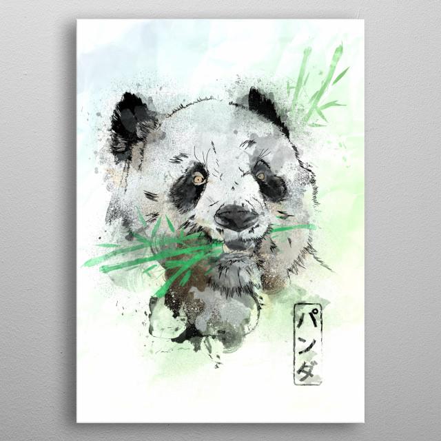 Watercolor painting of the Panda Bear metal poster