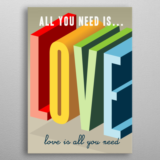 Typographical poster with huge 3D letters reinforcing the love metal poster