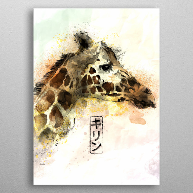Watercolor painting of the Giraffe metal poster