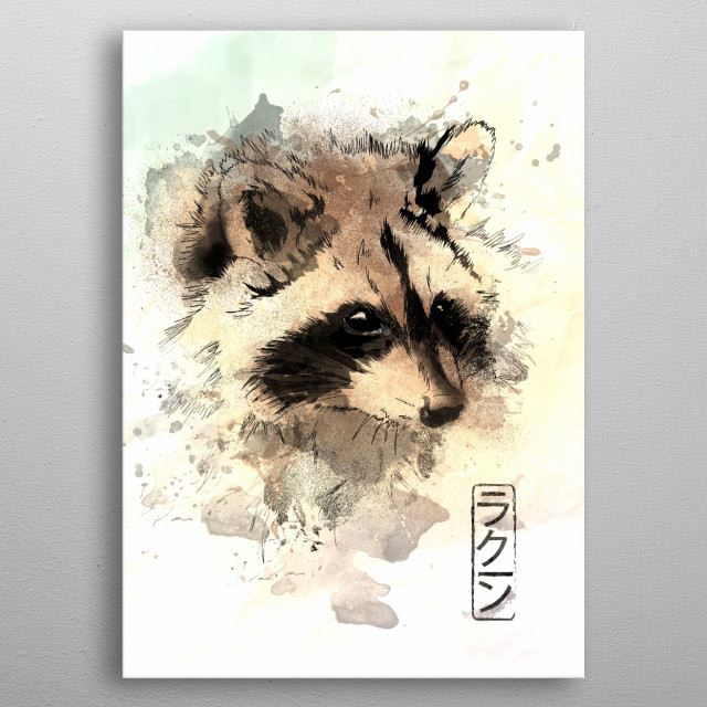Watercolor painting of the Raccoon metal poster