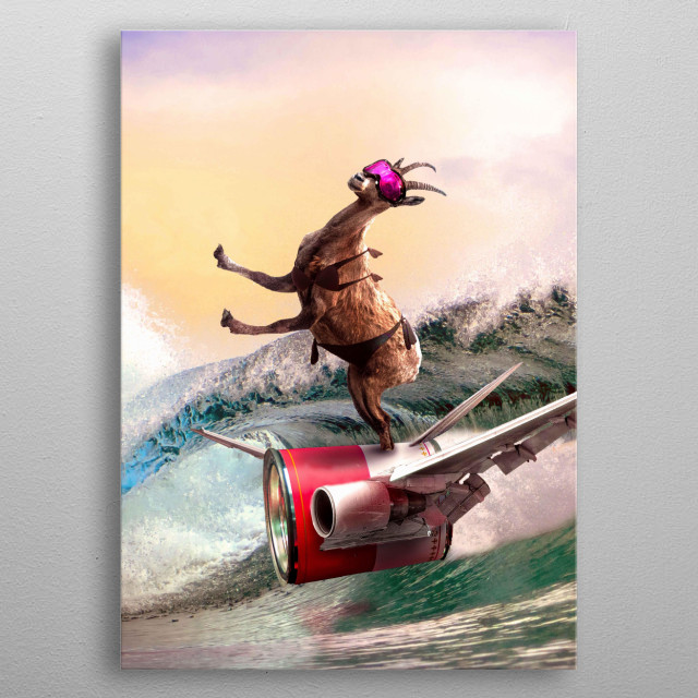 Pick up this funny colorful surf goat design featuring a goat surfing on a tin can jet at the beach.  metal poster