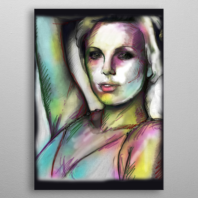 Vibrant expressionistic portrait metal poster