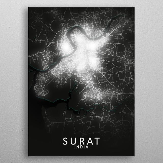 Surat, India,LED Glow City Map metal poster