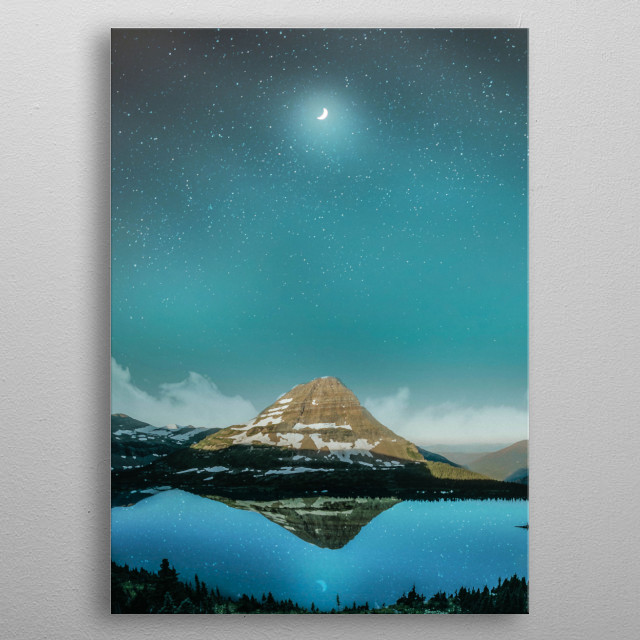Moon at night metal poster
