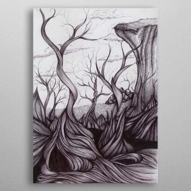 A fantastical dead forest metal poster