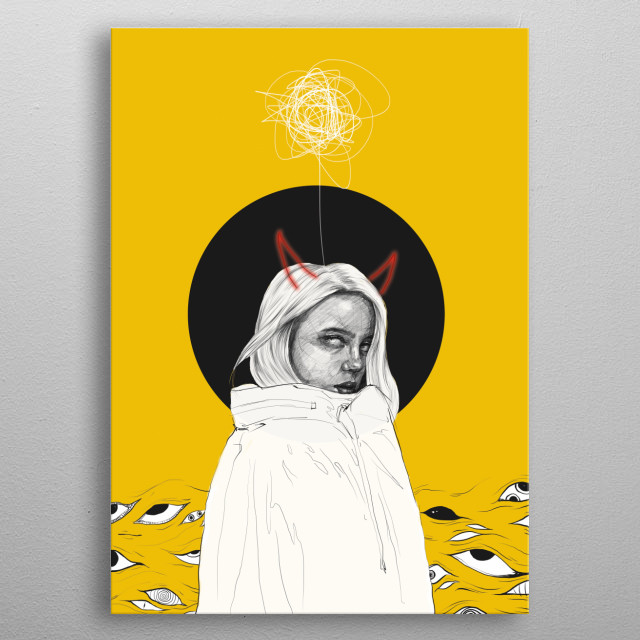 A digital illustration inspired by Billie Eilish. metal poster