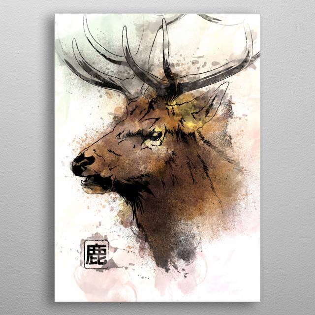 Watercolor painting of the Deer metal poster