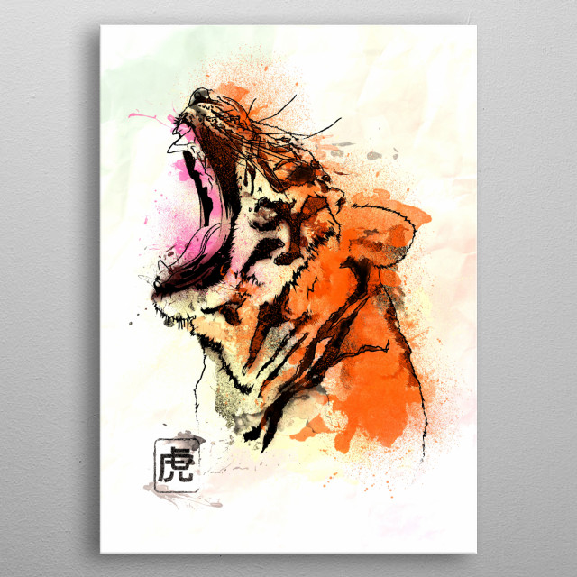 Watercolor painting of the Tiger metal poster