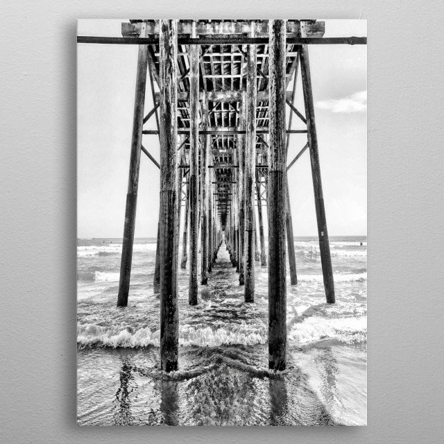 A view from under the pier in Oceanside, California. metal poster