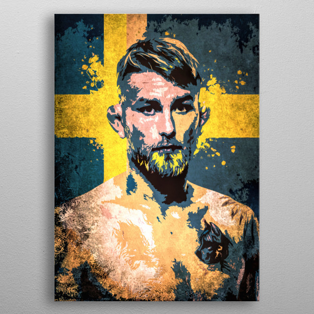 "Fighter Alexander Gustafsson ""The Mauler"" cartoon portrait with flag of the Sweden. metal poster"