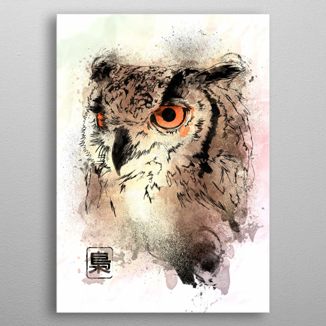 Watercolor painting of the Owl metal poster