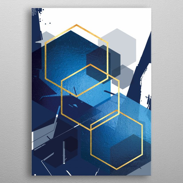 Stunning abstract geometric design in blue and gold metal poster
