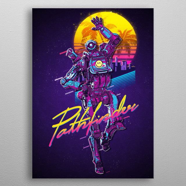 80s Synthwave style inspired Pathfinder character from the game Apex Legends. Gradient sun, palms, city in the background, eighties style. metal poster