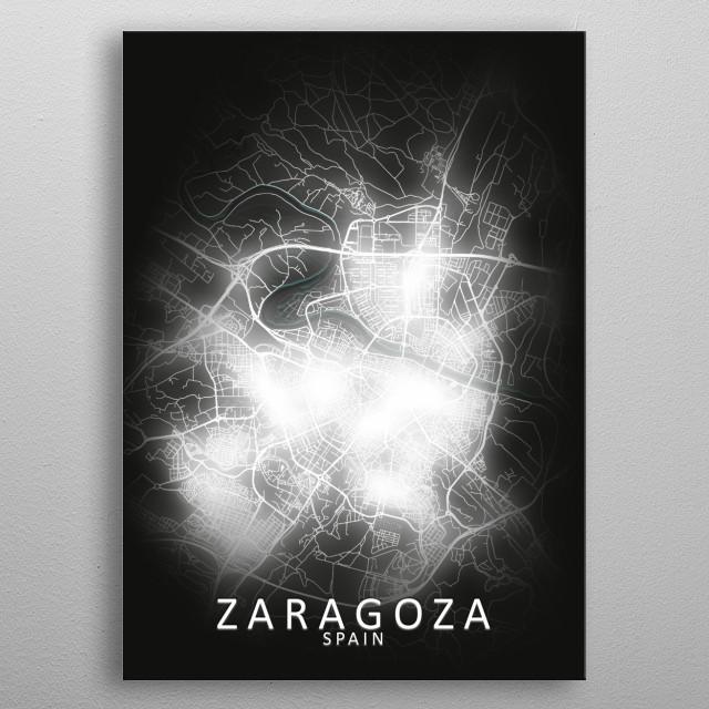 Zaragoza, Spain,LED Glow City Map metal poster