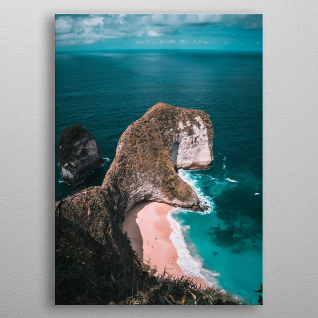 A wonderful photography of the cliff becoming one with the sea. This had been a drone photography made with the DJI Mavic Pro. metal poster