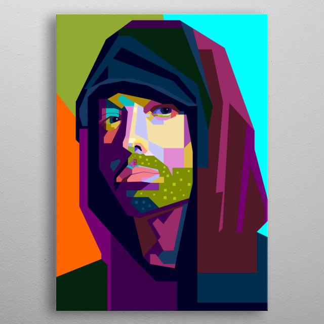 This artwork is inspired by the most stunning rapper in the world, Eminem metal poster