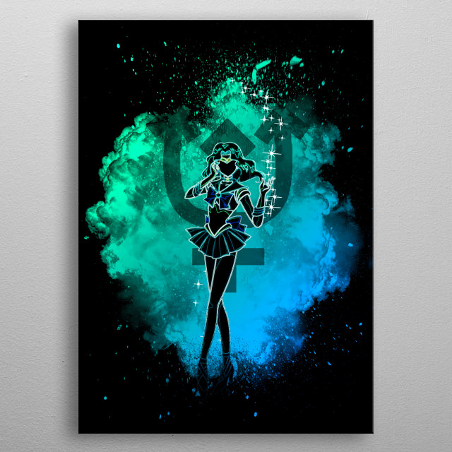 Black silhouette with Neptune lights metal poster