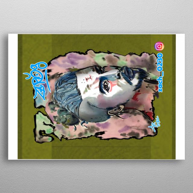 blue art  watercole  metal poster