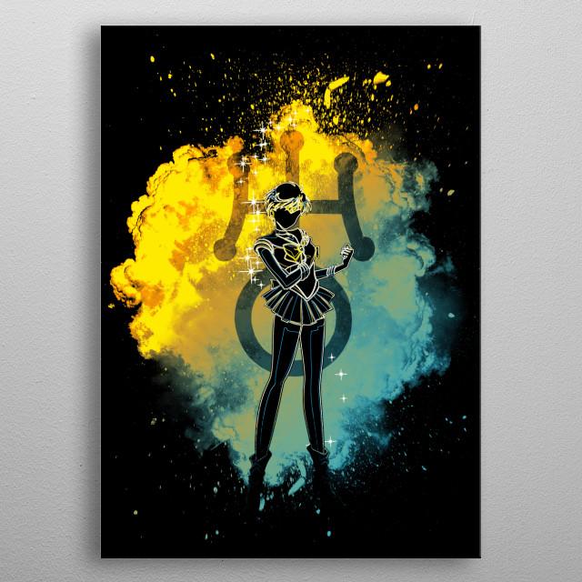 Black silhouette with Uranus lights metal poster