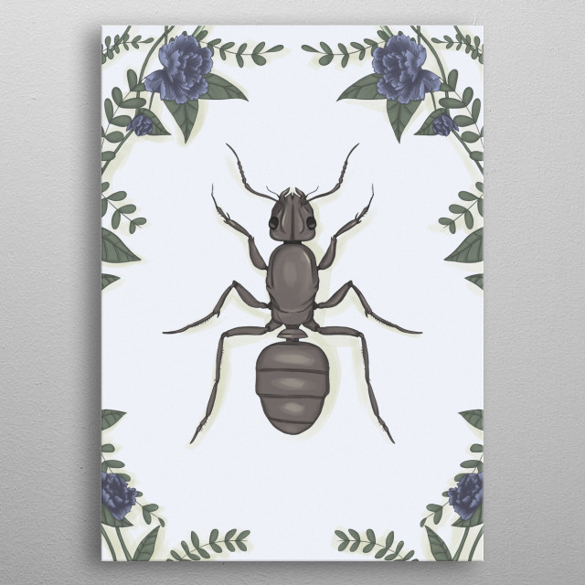 Illustration of an ant. metal poster