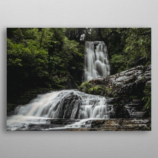 Long exposure of a waterfall on the south island of new zealand.  metal poster